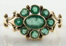 DIVINE 9K 9CT GOLD ART DECO INS EMERALD CLUSTER RING FREE RESIZE