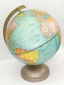 "Vintage World Scholastic Desk Globe Metal Stand George F. Cram Co. Made USA 16"""