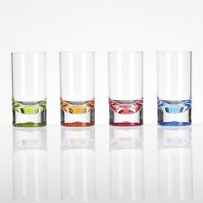 4X Camping Picknick Party Acryl Gläser Slim Jim Wasserglas Glas Kunststoff bunt