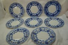 ANTIQUE FLOW BLUE CHINA LUNCH PLATES JOHNSON BROTHERS ECLIPSE SET 8 8-7/8in