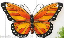 "24"" Painted Stained Glass and Iron Monarch Butterfly Suncatcher Wall Decor"