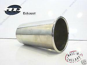 """Round 2.5"""" Inch Rolled Out Weld-On Stainless Steel Exhaust Tail Pipe Trim Tip"""