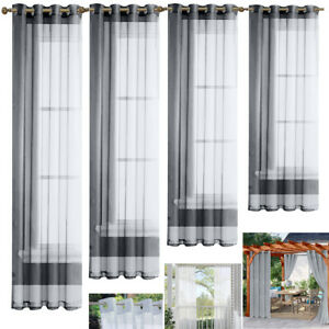 4 Panels Waterproof Curtains Outdoor Garden Patio Voile Curtain Eyelets Drapes