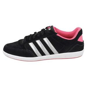Adidas Neo Womens Hoops Black and Pink Low Top Lace Up Trainers with 3 Stripes