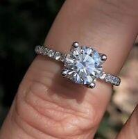 2.40Ct Round Cut Diamond Solitaire Bridal Engagement Wedding Ring 14k White Gold