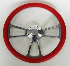 "55 56 Chevy Bel Air Red and Billet Steering Wheel 14"" Chevy Bowtie Cap"
