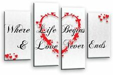 Love Heart Quote Art Picture Grey White Red Wall Canvas Split Multi Large