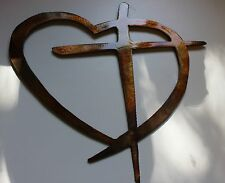 Heart & Cross  Copper/Bronze Mini  HANGING METAL WALL ART DECOR