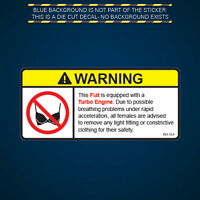 Fiat Turbo Engine Warning No Bra Self Adhesive Sticker Decal