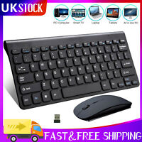 USB 2.4GHZ Wireless Slim Keyboard Mouse Optical Mice Combo Sets for PC Laptop UK