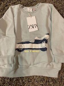 Zara Boys 100/% Cotton Pullover Sweater Nordic Blue Cream SOFT Cable Sweater NEW