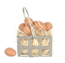 Eggs In Metal Basket, Dolls House Miniatures, 1.12 Scale Accessory Chicken Eggs,