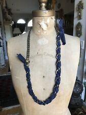 NEW IN BOX LANVIN PARIS Gold, Blue Silk Chain Necklace, 35""