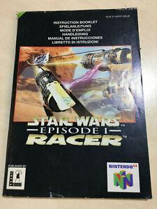 STAR WARS EPISODE 1 RACING - MANUAL ONLY no game Nintendo N64