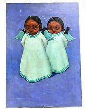 Jose Samano Torres (Mexican 1942-) Oil on Canvas Painting of Two Angel Girls