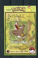 Micronesia 2000 MNH Pokemon #83 Farfetch'd Seasons Greetings 1v S/S Stamps