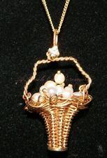 Antique 14K Gold Necklace Pendant Basket Filled Pearls Movable Handle Diamond