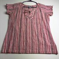 Columbia Women's Short Sleeve Blouse Top Medium M Multicolor Stripes Gauze