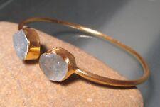 Gold plated brass rough aquamarine stones cuff bangle.