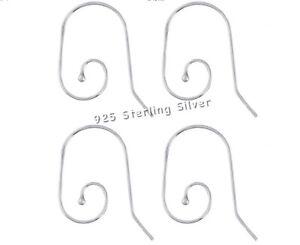 Solid Sterling Silver Ear Wires Interchangeable Hooks Earwire Silver Earrings x2
