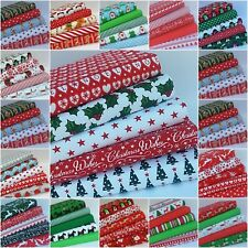 CHRISTMAS POLY COTTON FABRIC BUNDLES NEW DESIGNS CHOICE OF SIZE SEWING MATERIAL