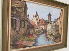 Öl Gemälde Stadt See 1949 Jahr antique excellente Künstlerarbeit