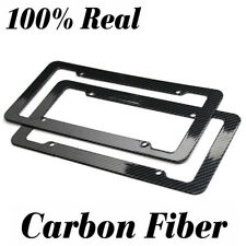 REAL 100%25 CARBON FIBER LICENSE PLATE FRAME TAG PROTECT COVER  3K With Free Cap