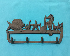 Cast Iron Nautical Hook with Seahorse, Starfish and Fish Wall Mount Rustic Brown