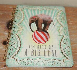 """NEW PAPAYA ART """"I'm Kind Of A Big Deal"""" 7"""" x 9"""" SPIRAL NOTEBOOK JOURNAL ELEPHANT"""
