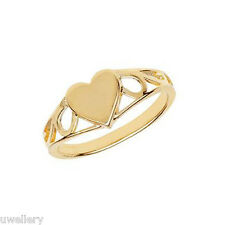 9 carat Gold Baby Girl Child Heart Solid Ring Hallmarked FREE ENGRAVING *NEW*