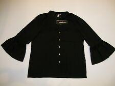 KARL LAGERFELD Paris Black Belle Sleeve Lace BLOUSE Top Women Size LARGE NEW