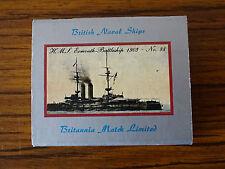 Vintage Match Box Label: British Naval Ships: No.88 HMS Exmouth