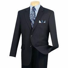 VINCI Men's Navy Blue Striped 2 Button Classic Fit Business Suit NEW