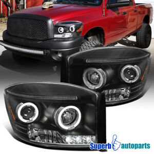 For 2006-2008 Dodge Ram 1500 2500 3500 LED Halo Projector Headlights Black
