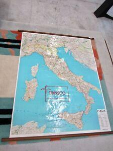 Carta Geografica stradale telata ITALIA L.A.C. - Firenze vintage 1970 98x125cm