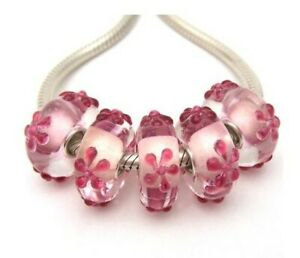 Pink Floral Lampwork Glass S925 Sterling Silver European Bead Charm - Set of 5