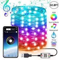 2m-20m USB Smart RGB Weihnachtsbaum Lichterkette Party Lichter Bluetooth Lampe