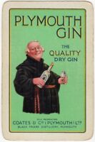 Playing Cards Single Card Old PLYMOUTH GIN Advertising Art Picture FRIAR ABBOT 2