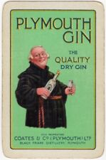 Playing Cards 1 Single Swap Card Vintage PLYMOUTH GIN Coates & Co. FRIAR ABBOT 2