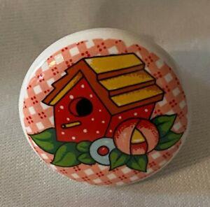 MARY ENGELBREIT Ceramic DRAWER PULL Cabinet Knob BIRDHOUSE