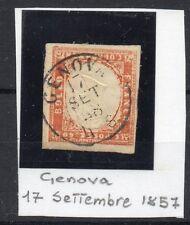 ANTICHI STATI 1857 SARDEGNA 40 CENT. GENOVA 17/9 A/11918