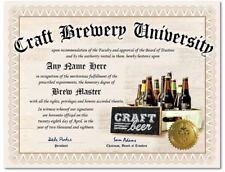 Craft Beer Home Brewer University Personalized  Diploma w/Gold Seal Novelty Gift