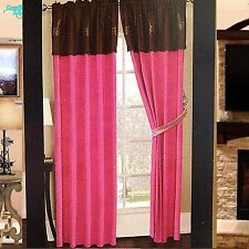 Luxury Western Angel Wings Design Embroidery Curtain Lining Hot Pink Brown