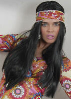 70s Hippy Girl Long Straight Black Wig