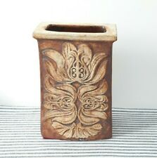 Vintage Coffin Vase Retro Rustic Abstract Design Chunky Jar For Flowers Utensils
