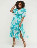Lane Bryant Floral Chiffon Maxi Dress Size 24 NWT