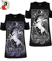 Restyle Magical Unicorn T-Shirt Cold Shoulder Alternative Top Purple Grey