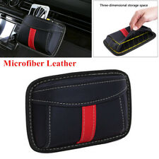 Black Red Leather Universal Car Organizer Pouch Pocket Storage Bag Accessories