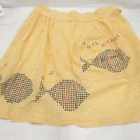 Vintage half Apron Farmhouse gingham fish chicken scratch cotton yellow pocket