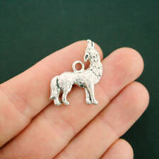4 Wolf Charms Antique Silver Tone - SC7187